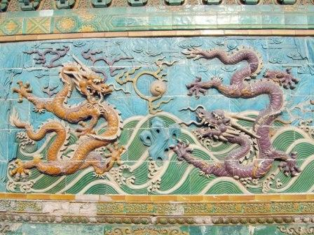 Two dragons playing pearl, Nine Dragon Wall, Bei-hai Park, Beijing