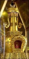 Buddhism Nirvana –The gold tower in which Shakyamuni's finger relic is preserved.