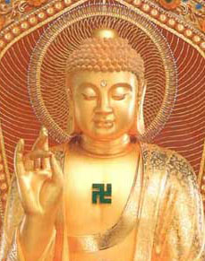 Buddhist religious symbols - swastika on Buddha statue