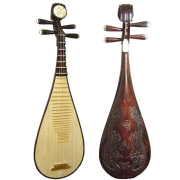 Plucked chinese musical instrument with four strings sometimes
